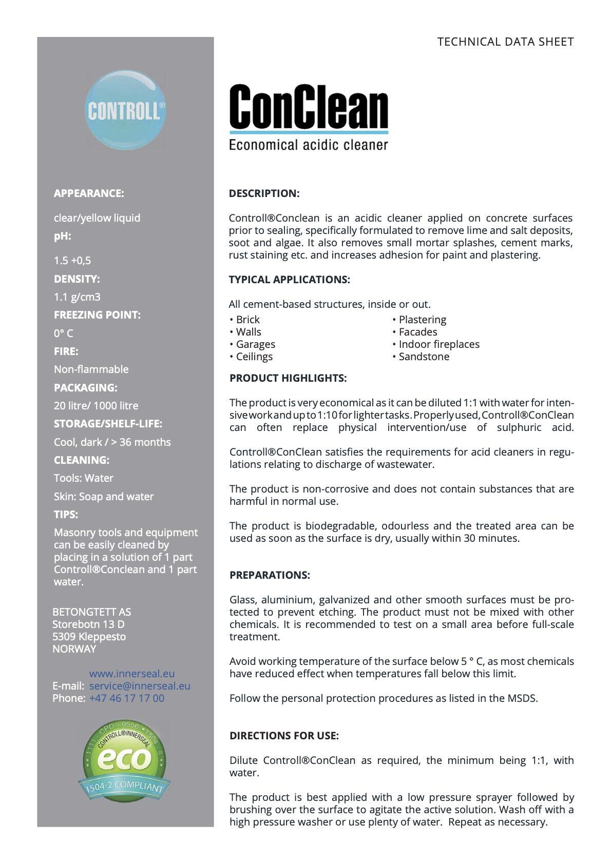 Conclean englisch technisches Merkblatt controll conclean partner SALP Construction Deutschland
