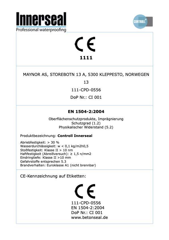Innerseal CE Kennzeichnung Produkt Controll komsol SALP Construction