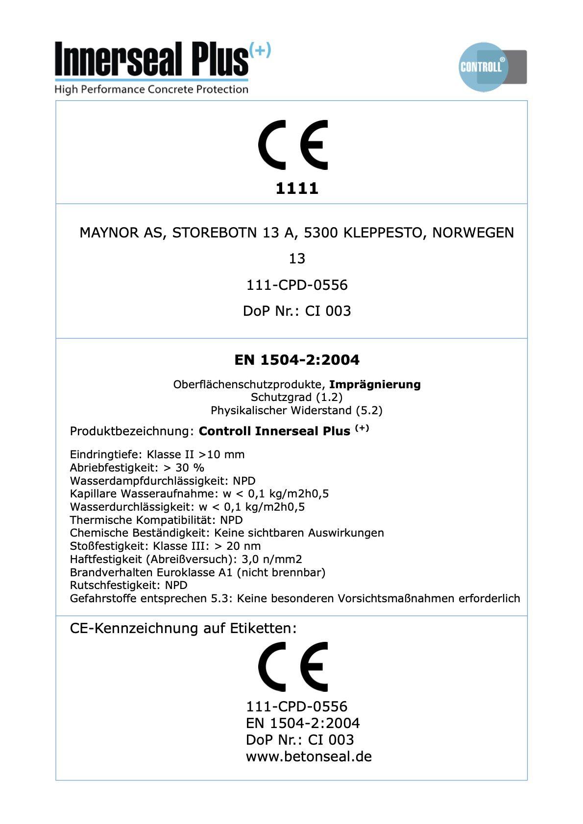 ce zertifikat controll innerseal plus partner SALP Construction Deutschland