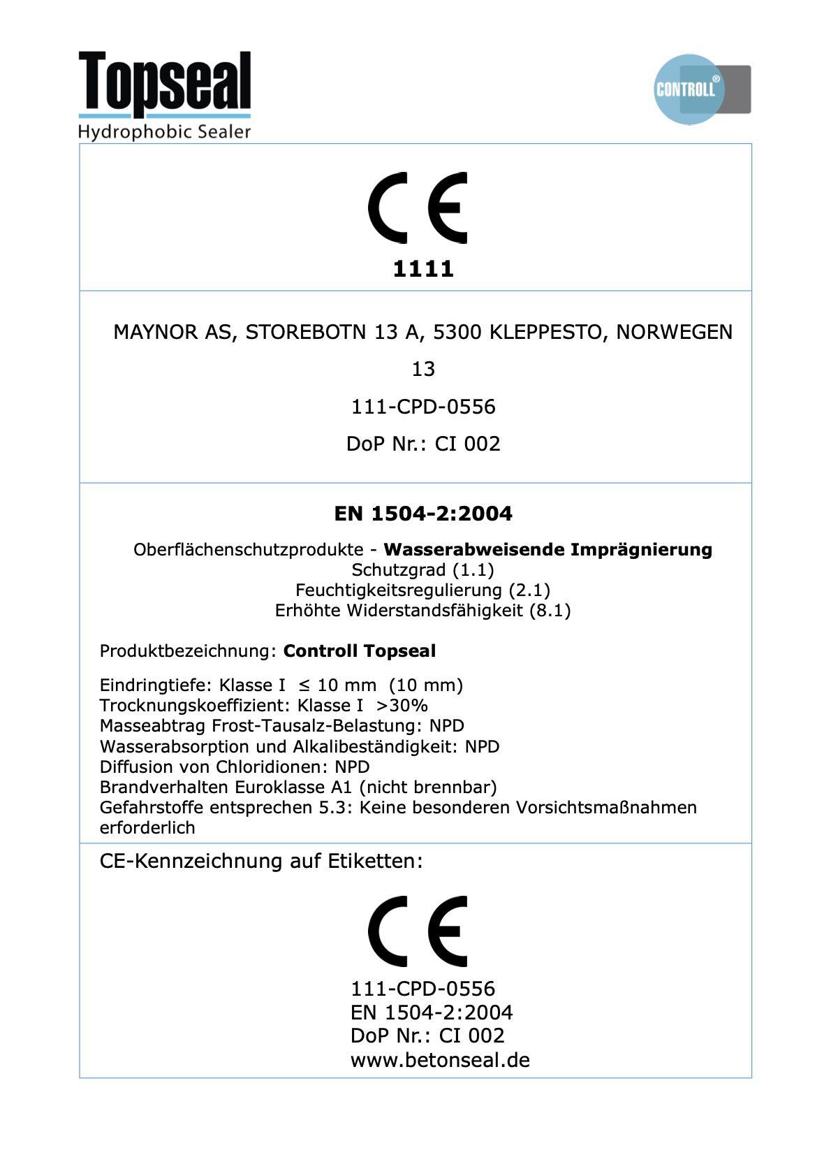 ce zertifikat controll topseal partner SALP Construction Deutschland
