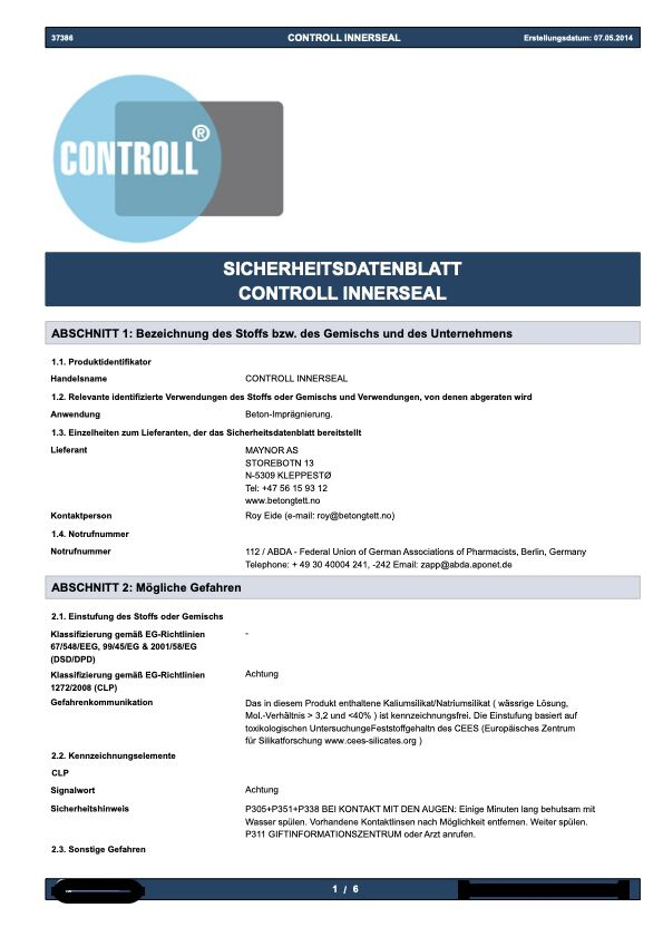 Innerseal Sicherheits Datenblatt Produkt Controll komsol SALP Construction