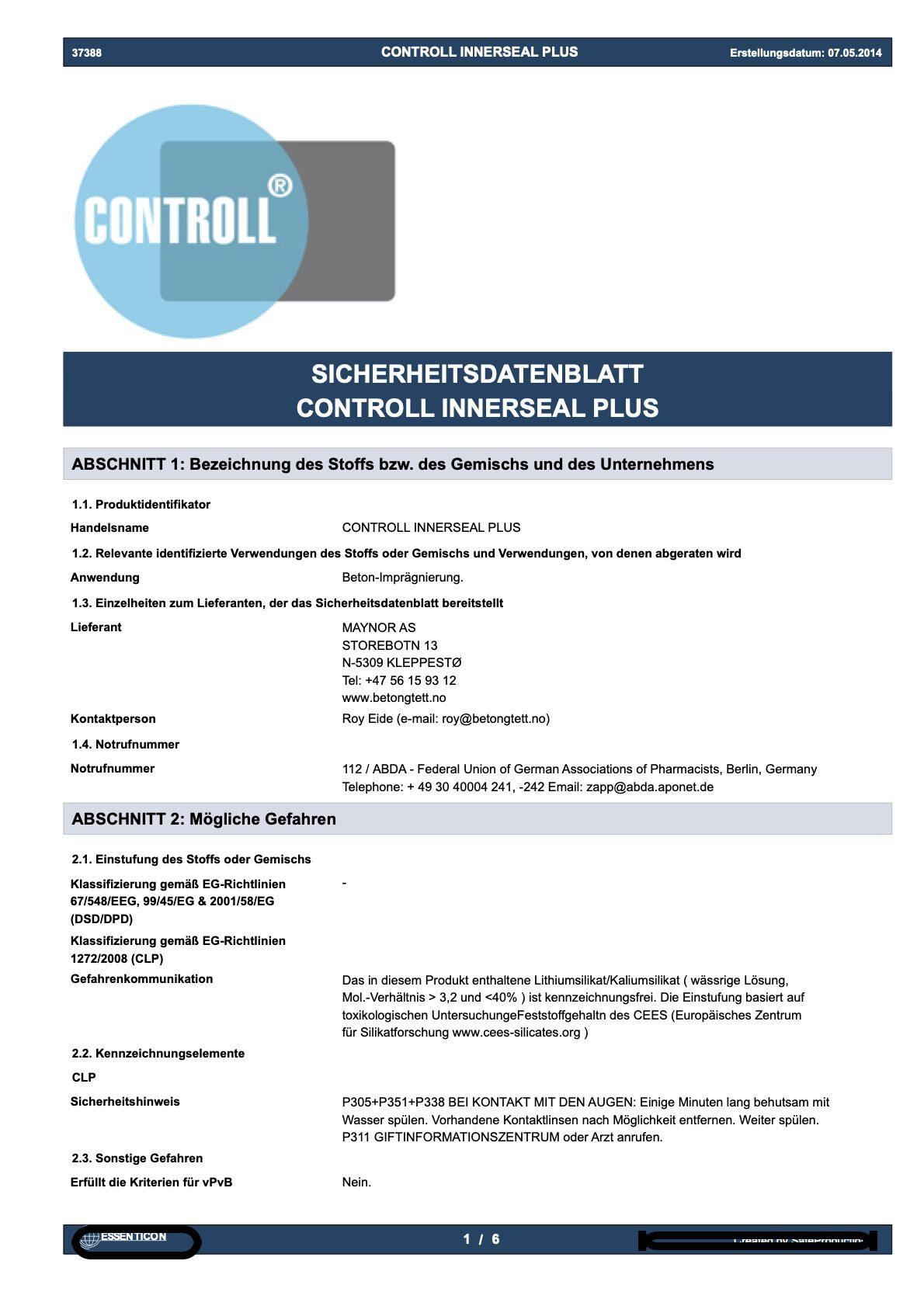 sicherheit datenblatt controll innerseal plus partner SALP Construction Deutschland