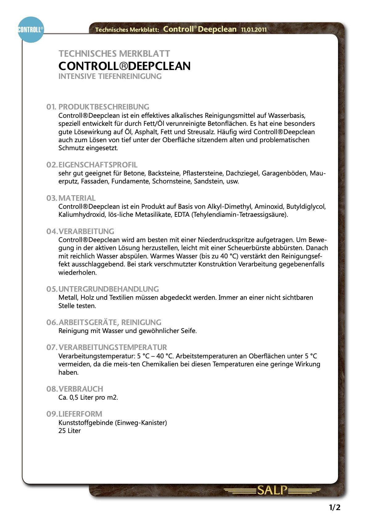 technisches datenblatt merkblatt controll deepclean partner SALP Construction Deutschland